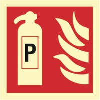 FIRE EXTINGUISHER, POWDER - ETTERLYSENDE PVC SKILT