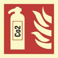 FIRE EXTINGUISHER - CO2 - ETTERLYSENDE PVC SKILT