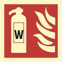 FIRE EXTINGUISHER, WATER - ETTERLYSENDE PVC SKILT