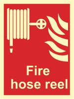 FIRE HOSE REEL - ETTERLYSENDE PVC SKILT