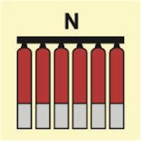 FIXED FIRE EXTINGUISHING BATTERY NITROGEN - ETTERLYSENDE PVC SKILT