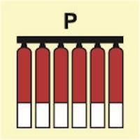 FIXED FIRE EXTINGUISHING BATTERY POWDER - ETTERLYSENDE PVC SKILT