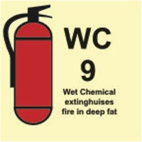 WET CHEMICAL EXTINGUISHES FIRE IN DEEP FAT - ETTERLYSENDE PVC SKILT