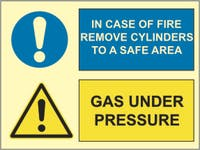 GAS UNDER PRESSURE, IN CASE OF FIRE REMOVE CYLINDERS - ETTERLYSENDE PVC SKILT