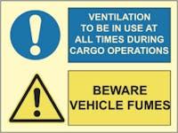 BEWARE VEHICLE FUMES, VENTILATION - ETTERLYSENDE PVC SKILT