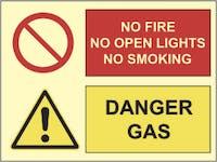 DANGER GAS, NO FIRE - ETTERLYSENDE PVC SKILT