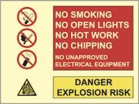 DANGER EXPLOSION RISK, NO SMOKING - ETTERLYSENDE PVC SKILT
