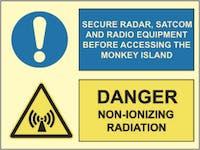 DANGER NON-IONIZING RADIATION, SECURE RADAR - ETTERLYSENDE PVC SKILT