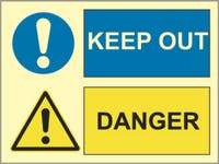 DANGER, KEEP OUT - ETTERLYSENDE PVC