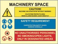 MACHINERY SPACE, CAUTION, SAFETY, PROHIBITION - ETTERLYSENDE PVC