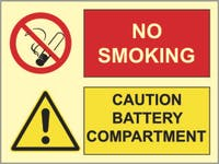 CAUTION BATTERY COMPARTMENT, NO SMOKING - ETTERLYSENDE PVC