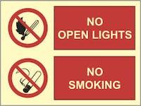 NO OPEN LIGHTS, NO SMOKING - ETTERLYSENDE PVC SKILT
