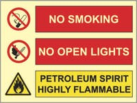 PETROLEUM SPIRIT HIGHLY FLAMMABLE, NO SMOKING, NO OPEN LIGHTS - ETTERLYSENDE PVC SKILT
