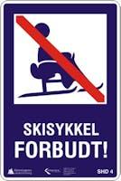 SKISYKKEL FORBUDT - ALUMINIUM KOMPOSITT SKILT