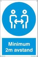 MINIMUM 2M AVSTAND - HVIT PVC SKILT