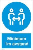 MINIMUM 1M AVSTAND - HVIT PVC SKILT