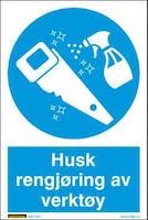 HUSK RENGJØRING AV VERKTØY - HVIT PVC SKILT