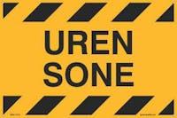 UREN SONE - GUL PVC SKILT