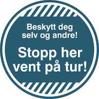 STOPP HER /5 STK - BLÅ FOLIE KLISTREMERKE
