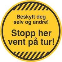 STOPP HER /5stk - GUL FOLIE KLISTREMERKE