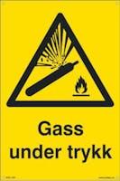GASS UNDER TRYKK - 200x300mm SKILT