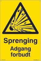 P-7070418100244  SPRENGING ADGANG FORBUDT - GUL PVC