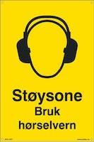 STØYSONE BRUK HØRSELVERN -  200x300mm SKILT