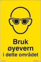BRUK ØYEVERN I DETTE OM - 200x300mm SKILT
