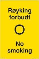 RØYKING FORBUDT NO SMOK -  200x300mm SKILT