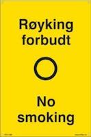 P-7070418100657 RØYKING FORBUDT NO SMOK - GUL PVC