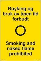RØYKING OG BRUK AV ÅPEN I - GUL PVC SKILT