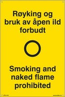 RØYKING OG BRUK AV ÅPEN I - 400x600mm SKILT