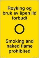 P-7070418100695 RØYKING OG BRUK AV ÅPEN I - GUL PVC