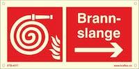 SYMB. BRANNSLANGE -PIL H - ETTERLYSENDE PVC - 300x150mm