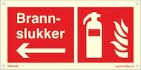 BRANNSLOKKER PIL VENSTRE - ETTERLYSENDE PVC - 300x150mm