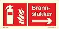 BRANNSLUKKER PIL HØYRE - ETTERLYSENDE PVC - 300x150mm