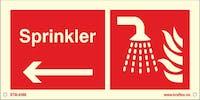 SPRINKLER VENSTRE PIL - ETTERLYSENDE PVC - 300x150mm
