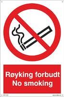 RØYKING FORBUDT NO SMOKING - 300x450mm SKILT