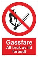 GASSFARE ALL BRUK AV ILD - 400x600mm SKILT