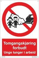 TOMGANGSKJØRING FORBUDT - 300x450mm SKILT