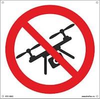 DRONEFLYGING FORBUDT - HVIT PVC SKILT