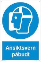 PÅBUDT MED ANSIKTSVERN - HVIT PVC SKILT