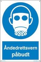 PÅBUDT MED ÅNDEDRETTSVERN - HVIT PVC SKILT
