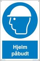 PÅBUDT MED HJELM - HVIT PVC SKILT