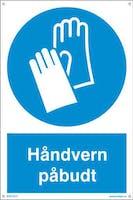 PÅBUDT MED HÅNDVERN - HVIT PVC SKILT