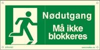 P-7070418121478 NØDUTGANG MÅ IKKE BLOKKERES - ETTERLYSENDE PVC