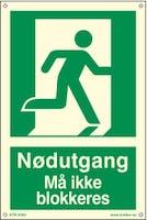 NØDUTGANG MÅ IKKE BLOKKERES - ETTERLYSENDE PVC