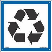 RESIRKULERING SYMBOLSKILT - HVIT PVC