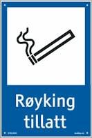 RØYKING TILLATT - HVIT PVC