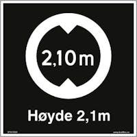 SKILT HØYDE 2,1 M SKUILT